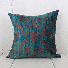 Soft Hand Woven - Silk Velvet Ikat Pillow Cover- Green Purple Color