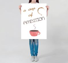 Visit my Shop to use this coupon code for 20% off: XMAS16 --- Until 7th December 2016. --- LARGE wall ART  Coffee quote motivational quote cup of coffee illustration Typography poster huge office decoration coffee decor by DrawingIllustration