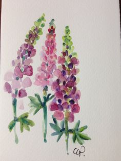 Lupines Watercolor card by gardenblooms on Etsy