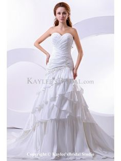 Taffeta and Satin Sweetheart Court Train A-Line Wedding Dress with Embroidered