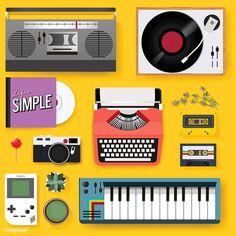 Illustration of classic entertainment media equipment