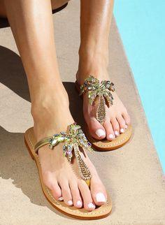 4e4cf28e1e3148 Aden - Women s Rhinestone Palm Tree Thong Sandals