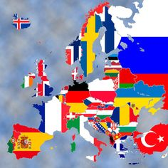 This is a map of the current Europe, using flags.