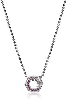 Little Elements Sterling Silver Hexagon with Swarovski Genuine Necklaces #pendant #necklaces #swarovski