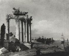 Capriccio con rovine classiche e figure sulla riva, Bernardino Bellotto, 1743, olio su tela, Museo civico di Asolo