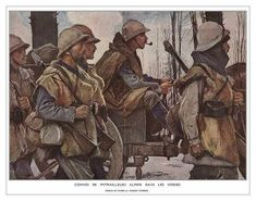 A Machine-Gun Company of Chasseurs Alpins in the Barren Winter Landscape of the Vosges. painting by Francois Flamenge -