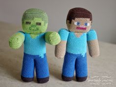 Smartapple Creations - amigurumi and crochet: Minecraft Steve vs Zombie