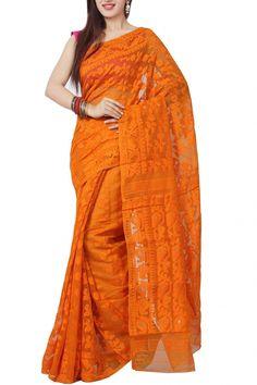 Buy Online Tangerine Paisley Dhakai Cotton Jamdani Saree . India's Best Ethnic Wears & Wares Dhakai Jamdani Saree, Indian Bridal Fashion, Pink Saree, Saree Blouse, Bridal Style, Sarees, Paisley, Ethnic, Pride