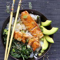 Teriyaki Salmon Rice Bowl. So many good, healthy things in one bowl - all drizzled with tasty homemade teriyaki sauce.