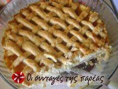 Πάστα Φλώρα #sintagespareas Greek Sweets, Greek Desserts, Greek Recipes, Sweets Recipes, Cookie Recipes, Cookie Dough Pie, Middle Eastern Desserts, Jam Tarts, My Dessert