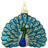 Peacock Glass Ornament  border=