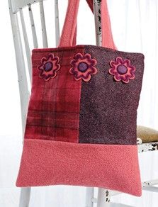 Patchwork Needle-Felted Flower Tote