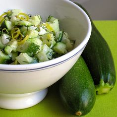 Get Hooked On Zucchini With This Salad: I'm convinced that nature knows best, because just as I started brown-bagging my lunch again, my local supermarket was offering late Summer vegetables at rock-bottom prices.
