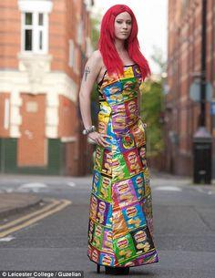 Hot potatoes: A dress made from crisp packets designed by Rebekah Kirkland