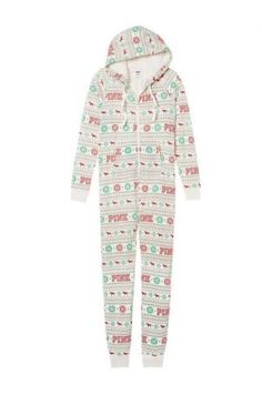 8cbc769c8e Victorias Secret Pink Sherpa Holiday Long Zip Up Onesie Pajamas Sz Small  NWT -- Learn more by visiting the image link.