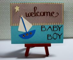 """Welcome Baby Boy This card measures approximately 4.25"""" x 5.5"""" in size http://kinamileli.wix.com/pink-mermaid-"""