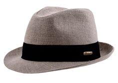 Summer Linen Short Brim Trilby- beige / black