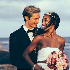 Gorgeous interracial couple wedding photography by the sea #love #wmbw #bwwm #swirl