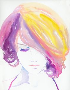 It would be neat to paint a watercolor in this style. I love the bright colors against mostly white. @Cathryn Jean, made me think of you!