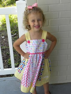 BacktoSchool ABC Dress by MoJosBoutique on Etsy, $39.00 So cute!!!
