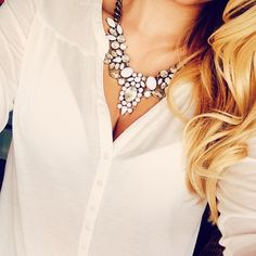 White on White – Wear White #Statement #Necklaceswith White Shirts and Blouses