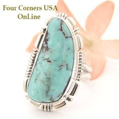 Four Corners USA Online - Size 8 1/2 Dry Creek Turquoise Sterling Ring Navajo Artisan Jane Francisco Native American Jewelry NAR-1468, $175.00 (http://stores.fourcornersusaonline.com/size-8-1-2-dry-creek-turquoise-sterling-ring-navajo-artisan-jane-francisco-native-american-jewelry-nar-1468/)