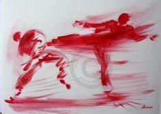 karate-n-2-dessin-calligraphique-d-ibara.jpg (Peinture) par IBARA Calligraphie karaté Peinture acrylique et encre rouge sur papier aquarelle 300gr Format 0,40/0,30cm Signé Ibara