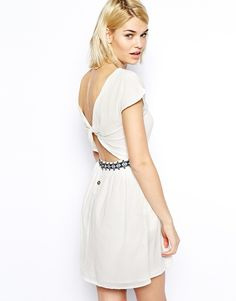 Mango Embroidered Trim Open Back Dress