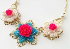Pop Star Statement Necklace with Jewel Pop Shop