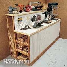 At the heart of every small shop is a multipurpose workbench. Build this workbench with tons of storage space underneath. While ours is configured for lumber storage, you can put cabinet doors on the front and store tools and materials. For our 8-ft. long bench, we built four 2x4 frames; that left about 27 in. between them. This spacing provides plenty of support for the double 3/4-in. plywood top and long lengths of lumber underneath.