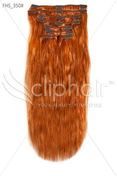 $67  18 Inch Full Head Remy Clip in Human Hair Extensions - Ginger Red/Natural Red (#350)