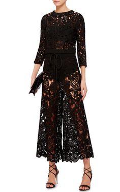 Black Silk Hand Crocheted Long Sleeved Top by SPENCER VLADIMIR Now Available on Moda Operandi