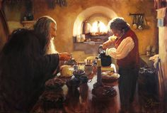 Original oil painting by Christopher Clark, fine artist - Lord-of-the-Rings-painting-LOTR-–-Gandalf-and-Bilbo-Having-Tea
