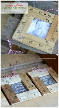 These darling Ruler Photo Ornaments are simple to make, and are so fun on your tree! They also make perfect gifts for family, friends, and loved ones! Teacher Christmas Gifts, Teacher Gifts, Student Gifts, Teacher Presents, Parent Gifts, Xmas Gifts, Craft Gifts, Diy Gifts, Ruler Crafts