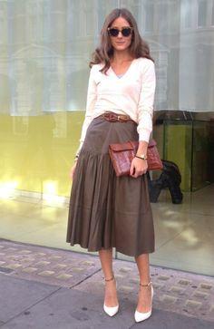 Olivia Palermo wearing a Hermes Jige cluctch, Reiss Andrea shirt & a Reiss Barrett Midi leather skirt.