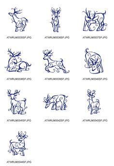 Outline-Christmas-Reindeer Embroidery Designs