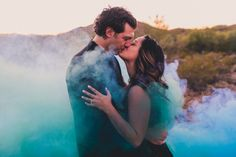 COLORED SMOKE BOMBS at your engagement session? Yes please!!