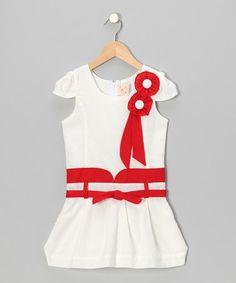Look at this #zulilyfind! White & Red Pearl Ribbon Dress - Toddler & Girls #zulilyfinds