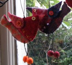 Gill Pinkney - felted bird ornaments