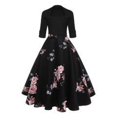 Audrey Hepburn Vintage Party Dress Women Floral Flare Midi Dresses Winter Autumn Retro Dress Vestidos Robe Femme black S Pin Up Dresses, Day Dresses, Pretty Dresses, Floral Dresses, Midi Dresses, Printed Dresses, Peasant Dresses, Floral Outfits, Beach Dresses