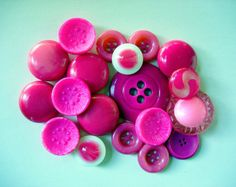 Wonderful Lot of Various Pink Vintage Buttons-All Kinds
