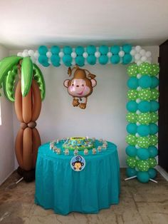 Monkey theme/jungle blue and green balloons
