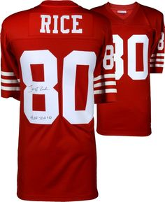 672f019011c Jerry Rice SF 49ers Signed Red Mitchell  amp  Ness Replica Jersey  amp