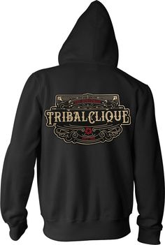 d5c27f65f6ba2 Tribal Gear Streetwear Plaque Hoodie Sweatshirt Long Sleeve Zip Up   TribalGear  FullZipHoodie Full Zip