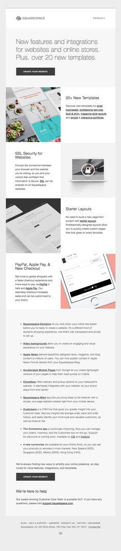 Squarespace - Really Good Emails - Email Design Inspiration - Minimal, Modern Email Marketing Design, Digital Marketing, Marketing Ideas, Email Layout, Email Design Inspiration, Web Design, Email Client, Best Email, Newsletter Design
