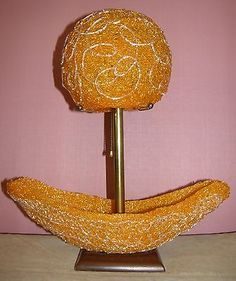 VINTAGE MID CENTURY SPAGHETTI BOAT TABLE LAMP ORANGE EAMES PANTON ERA