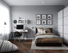 ideas for bedroom interior grey quartos Gray Bedroom, Trendy Bedroom, Bedroom Colors, Bedroom Wall, Bedroom Decor, Long Bedroom Ideas, Master Bedroom, Gray Interior, Home Interior