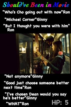 Harry Potter and the Order of the Phoenix Should've Been in Movie Ginny Ron Cho Dean Michael Corner funny