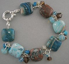 Turquoise and Brown Crazy Agate Bracelet with by Stoneberri, $52.00