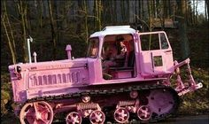 No one can take you seriously when you have painted your tractor pink. Pink Tractor, Pink Wheels, Tout Rose, Pink Truck, Go Pink, Purple, Magenta, Pink Power, Everything Pink